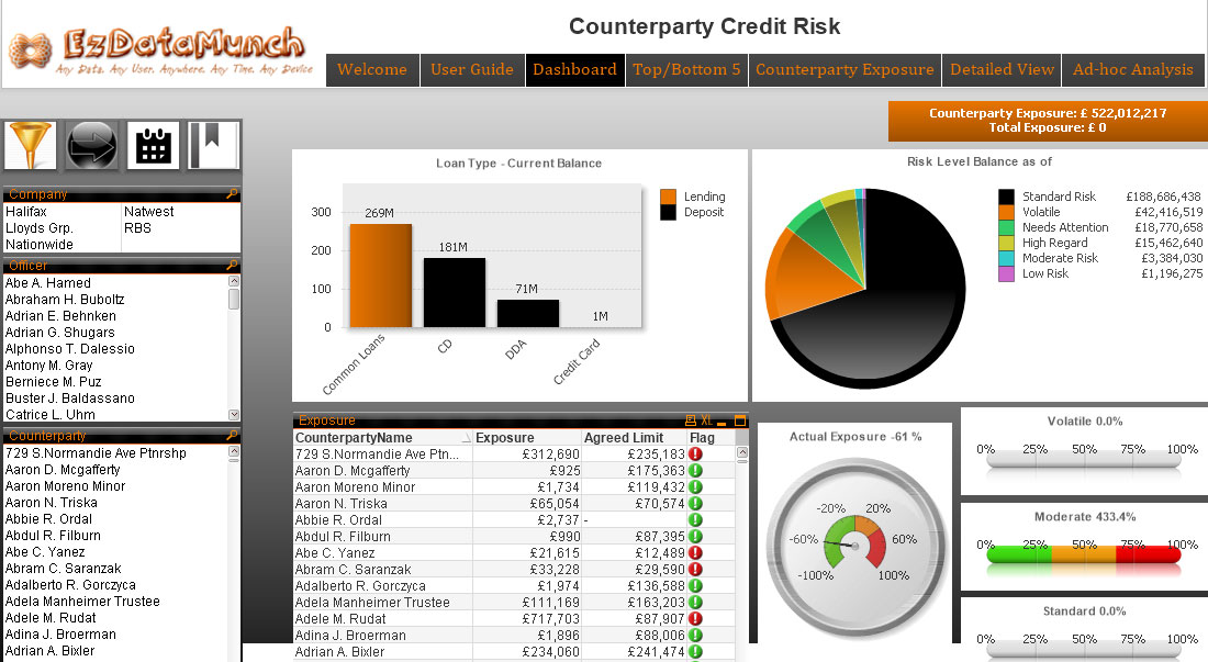 Risk analytics dashboards kansas ezdatamunch for Banking dashboard templates